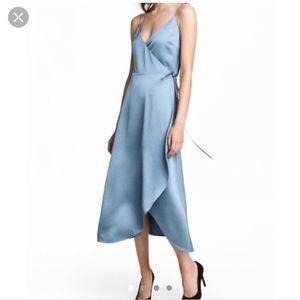H&M blue crepe wrap dress